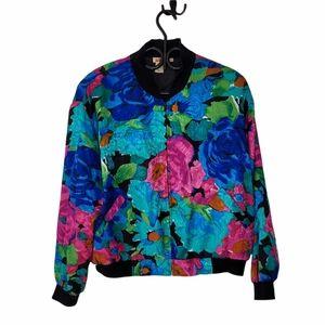 Vintage 80s floral bomber jacket